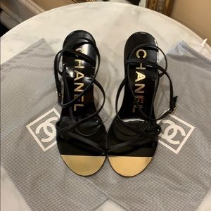 Chanel black wedge sandals size 39 1/2.